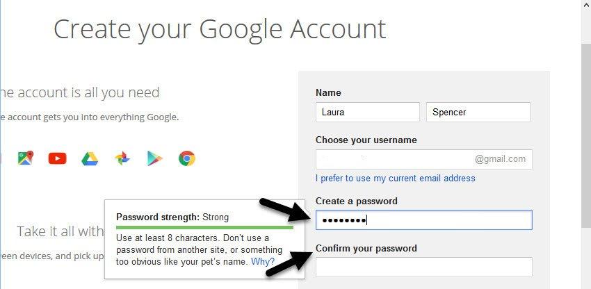 Enter password information