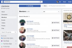 Search through Facebook