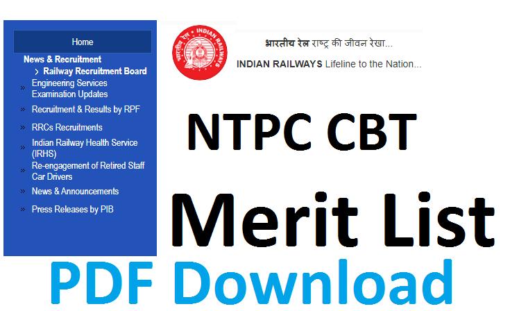 RRB NTPC Merit list
