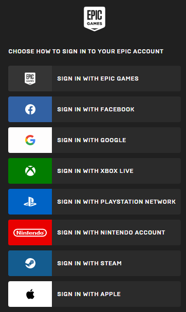 Sign in to fortnite