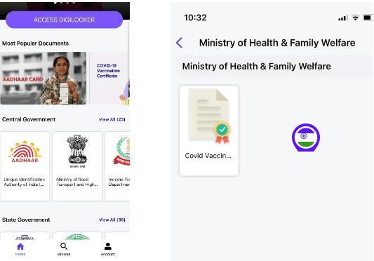 Vaccine certificate using UMANG App