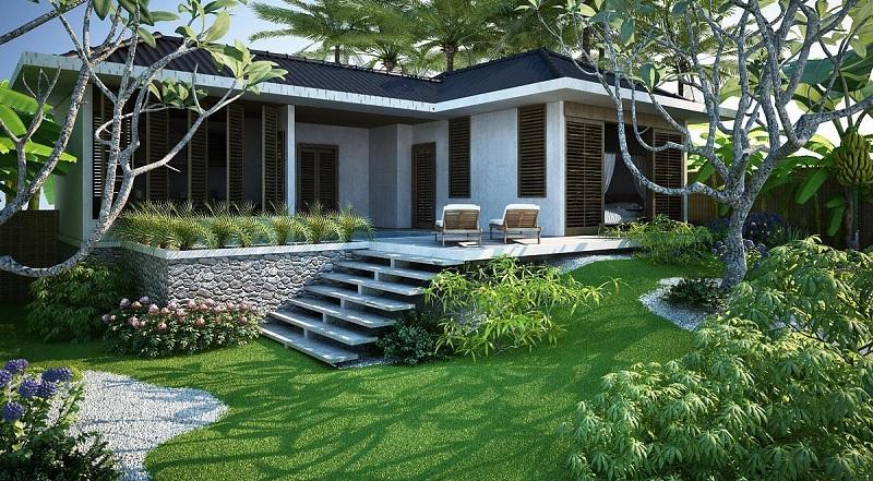 Thiết kế cảnh quan sân vườn màu sắc hài hòa tạo nên không gian ấn tượng