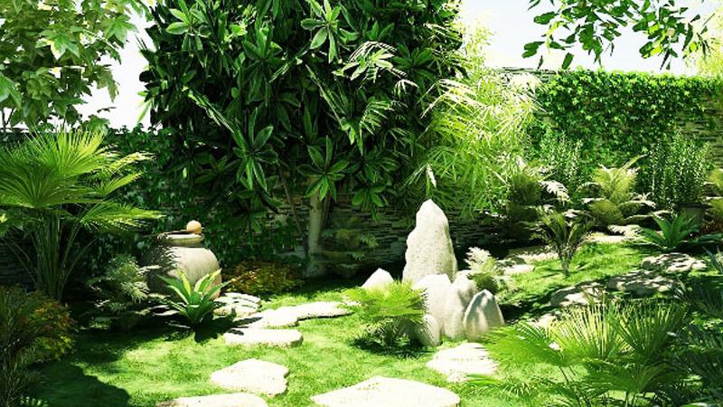 Thiết kế cảnh quan sân vườn theo phong cách nhiệt đới