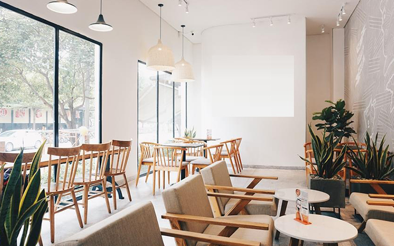 Những gam màu trang nhã rất thích hợp cho quán cafe diện tích nhỏ